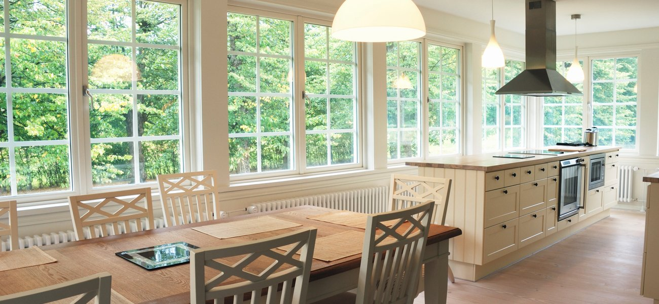 large windows in kitchen and dining room